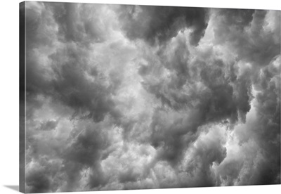 Looking up into a thunderstorm at the dark and ominous clouds