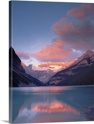 Alpenglow, Lake Louise and Victoria Glacier, Banff National Park, Alberta, Canada
