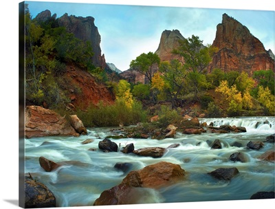 Court of the Patriarchs rising above river, Zion National Park, Utah