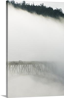 Deception Pass Bridge in fog, Deception Pass State Park, Washington