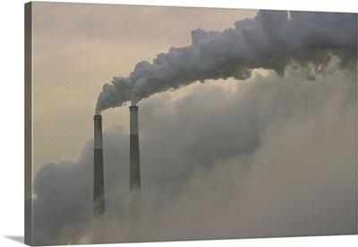 Gas effluence pouring out of smoke stacks at nuclear power plant, upper Ohio River, Ohio