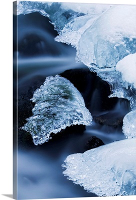 Ice patches in stream, Bavarian Forest, Germany