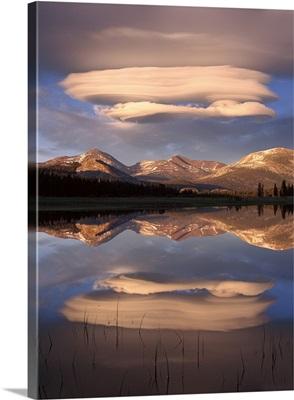 Lenticular clouds over Mt Dana Mt Gibbs and Mammoth Peak Yosemite National Park