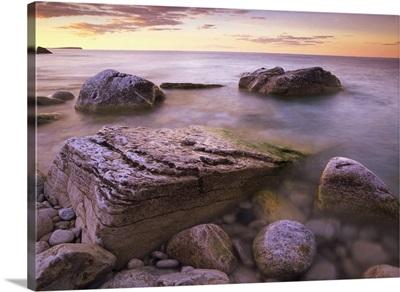 Log dump beach Bruce Peninsula National Park Ontario Canada