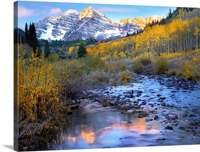 Maroon Bells and Maroon Creek in autumn, Colorado