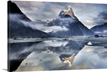 Mitre Peak reflecting in Milford Sound, Fiordland National Park, New Zealand