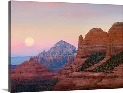 Moon setting as seen from Shelby Hill, Sedona, Arizona