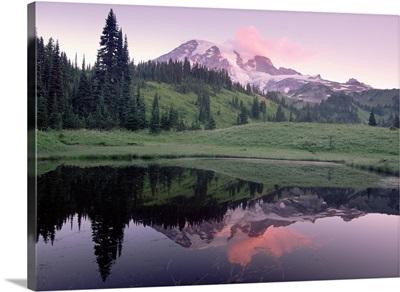 Mt Rainier reflected in lake Mt Rainier National Park Washington