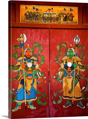 Mural of Buddhist guardians on hotel door, Ulan Baatar, Mongolia