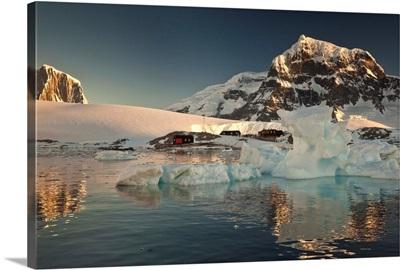 Museum, at sunset, Port Lockroy, Wiencke Island, Antarctic Peninsula, Antarctica