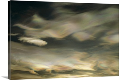 Nacreous Mother of Pearl' clouds seen over Ross Island in late winter,  Antarctica