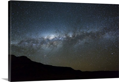 Night sky with Milky Way over mountain range, southern Madagascar