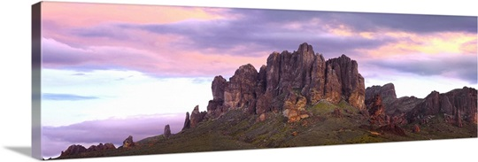 Panoramic Wall Art panoramic view of the superstition mountains at sunset arizona