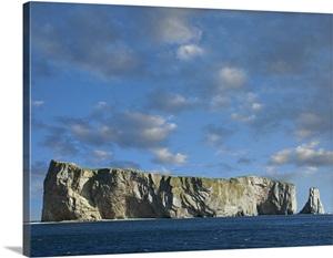 Perce Rock Island Limestone Formation Quebec Canada