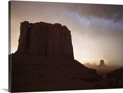 Sandstorm, Elephant Butte at north window, Monument Valley Navajo Tribal Park, Arizona