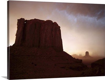 Sandstorm Elephant Butte at north window Monument Valley Navajo Tribal Park Arizona