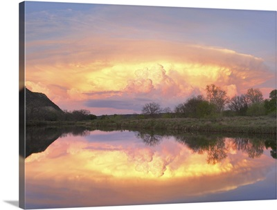 Storm clouds and South Llano River, South Llano River State Park, Texas