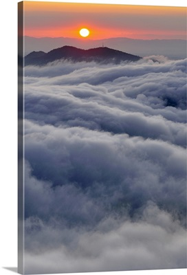 Sunrise over mountain and clouds, Spain