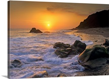 Sunset over Leo Carillo State Beach, Malibu, California