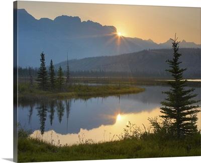 Sunset over Miette Range and Talbot Lake, Jasper National Park, Alberta, Canada