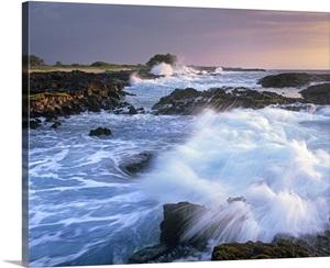 Waves Crashing On Rocky Shore Wawaloli Beach Big Island