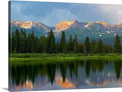 West Needle Mountains reflected in Molas Lake, Weminuche Wilderness, Colorado