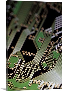 A close view of a silicon circuit board from a computer