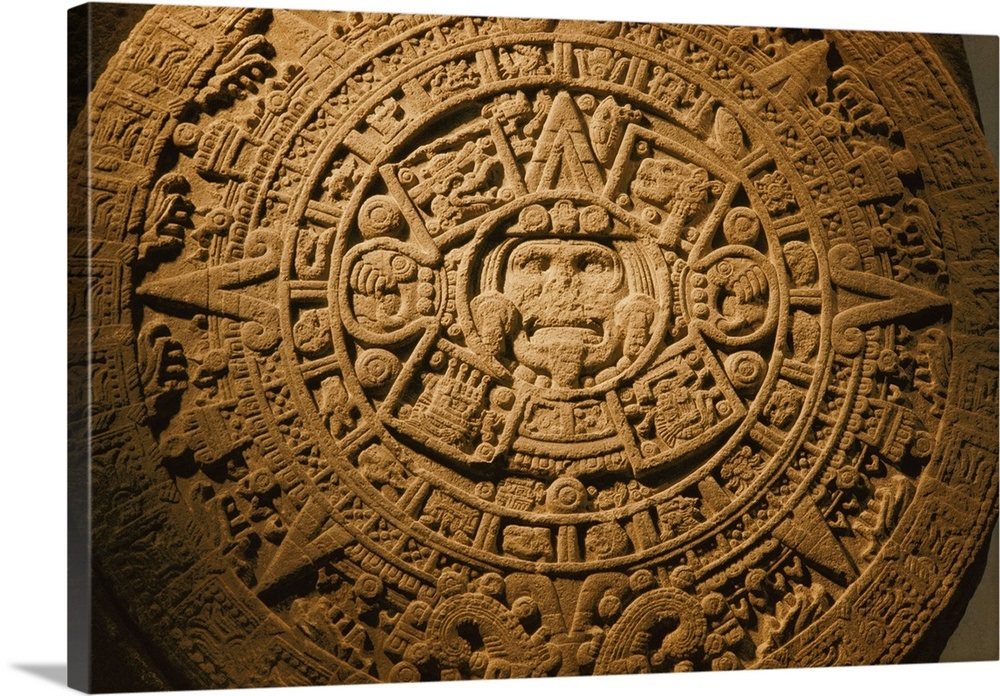 A closeup of the center of the 20 ton aztec sun stone wall art