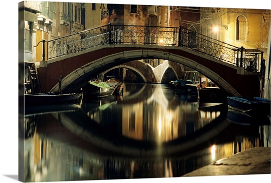 A night view of a canal in Venice, Italy Wall Art, Canvas Prints ...