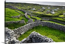 A pastoral landscape with stone fences and cottages, Aran Islands, Ireland