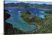 Aerial view of Hurricane Bay above Virgin Islands National Park, St John Island