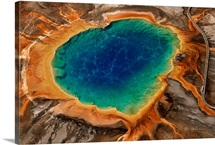 An aerial view of Grand Prismatic Spring