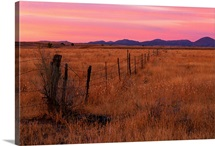 An old wire fence across the prairie, Southwest U.S