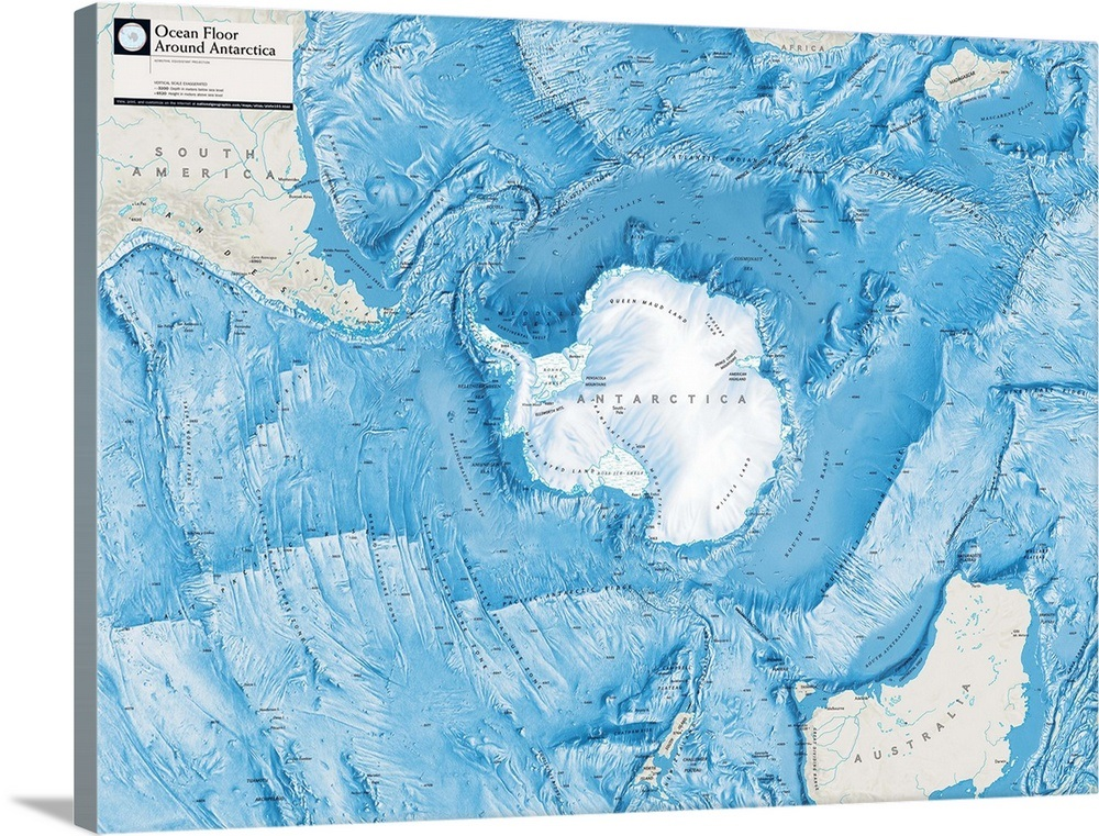 Atlas of World 8th Ed. physical map of ocean floor around Antarctica