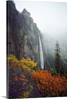 Bridal Veil Falls plummets down a rock cliff near Telluride, Colorado