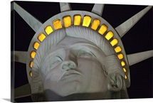 Close view of the Statue of Liberty replica at night