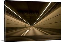 Driving in tunnel part of the Oresund Bridge under the Oresund Strait