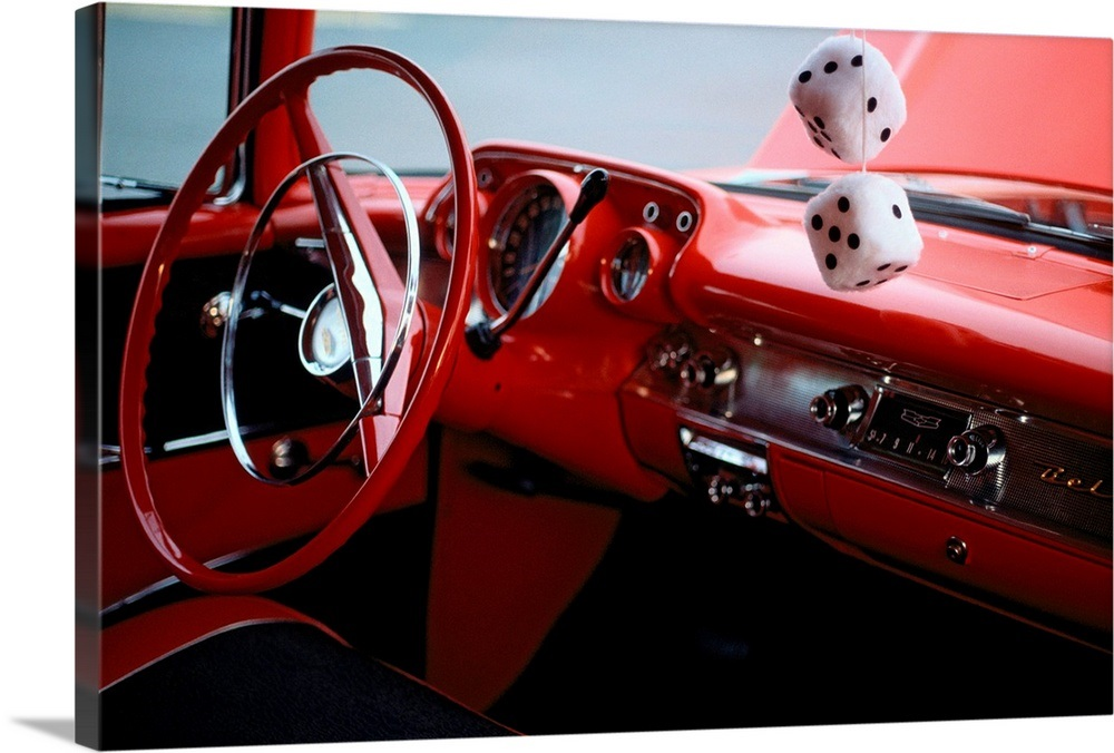 Fuzzy Dice And Cherry Red Interior Of A 1957 Chevy Bel Aire