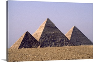Giza Pyramids From Left Of Pharaohs Menkaure Khafre And