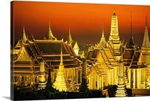 Grand Palace and Temple of the Emerald Buddha, Wat Phra Keo, at night, Bangkok, Thailand