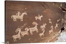 Hunting party petroglyphs at Wolfe Ranch, Arches National Park, Utah