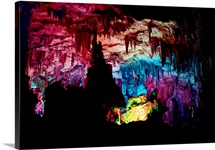 Limestone is eroded into formations at Reed Flute Cave