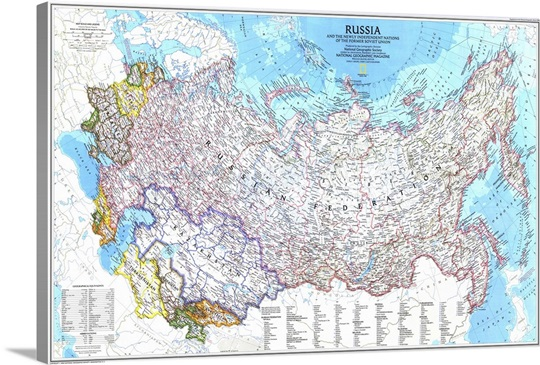 Map of Russia and the independent nations of the former Soviet
