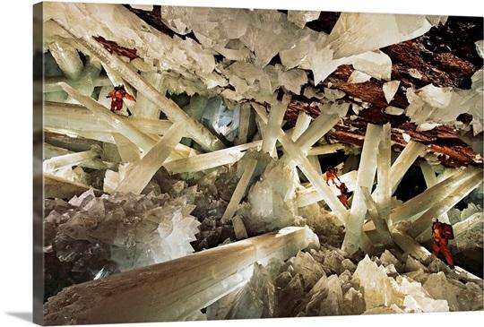 Massive beams of selenite dwarf explorers in the Cave of Crystals