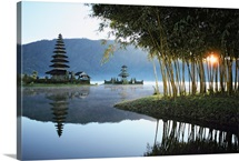 Misty lake with shrine, Bali Island, Indonesia
