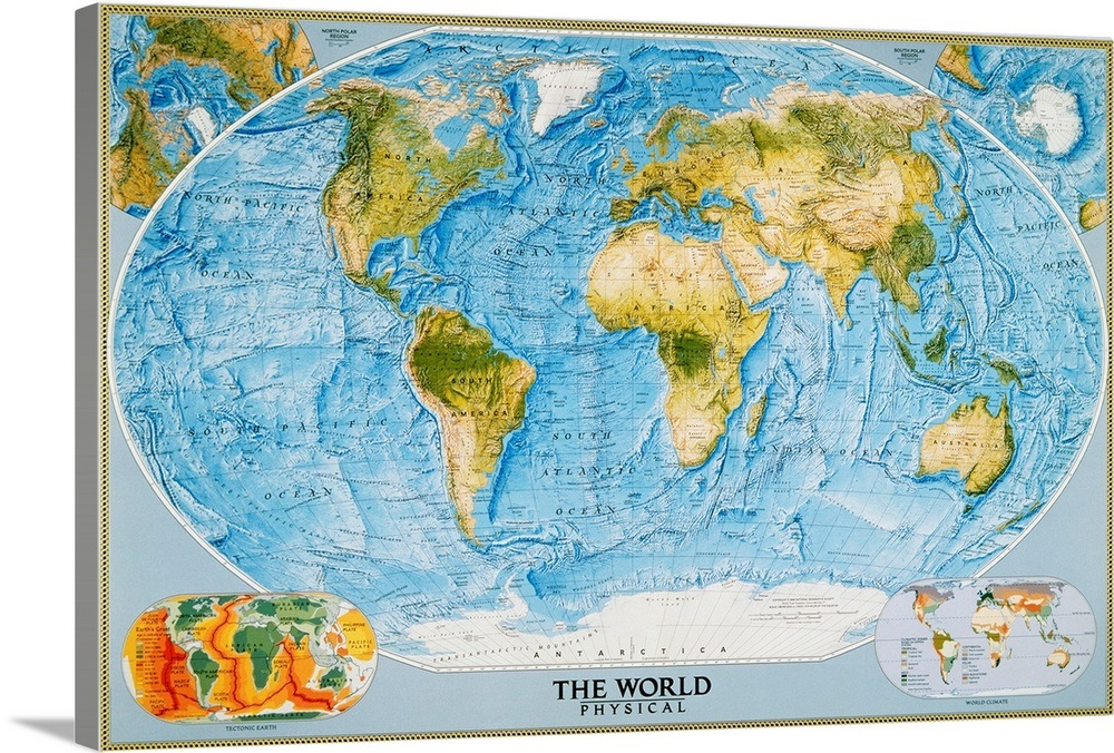 National Geographic Physical Map Of The World Wall Art Canvas