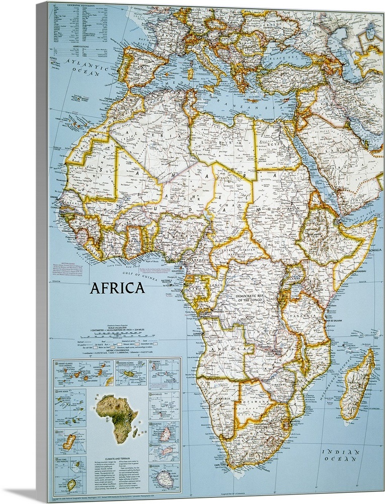 National Geographic political map of Africa Wall Art, Canvas