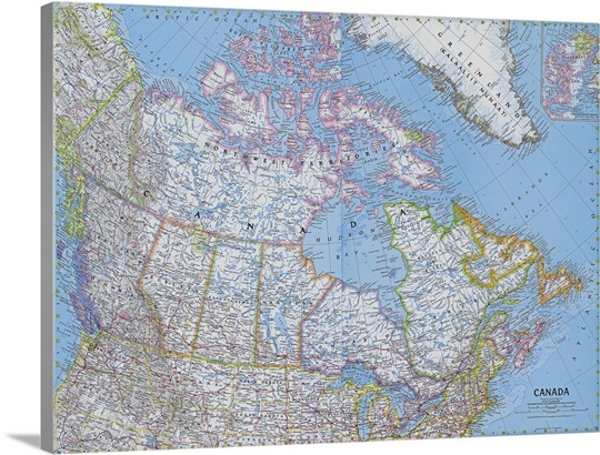 National Geographic Political Map Of Canada Wall Art Canvas - National geographic political map