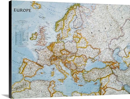 National Geographic Political Map Of Europe Wall Art Canvas - National geographic political map