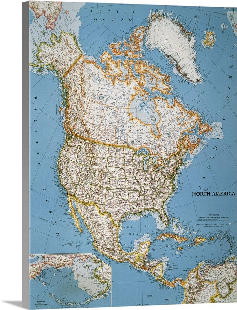 National Geographic Political Map Of North America Wall Art Canvas